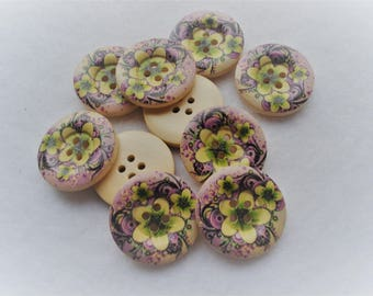 25mm Wooden Buttons, Yellow Flower on Purple Buttons, Pack of 15 Buttons, W2517