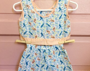 Vintage unisex baby two piece summer  outfit - retro baby clothes - ducks/ fish / vintage baby size 3-6M