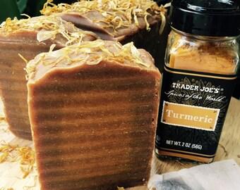 Turmeric, Green Tea, and Calendula All Natural, Moisturizing Skin Care, 5oz Soap Bar
