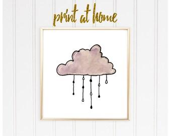 Cloud Print, Watercolor Print, Rain Cloud print, Purple Cloud, nursery decor, dorm decor, dorm art, wall art, nursery print, nursery art