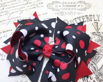 Black Boutique Hairbow - Boutique Hairbow - baby hairbow - hair bow, Red Hairbow