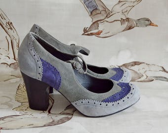 Sale* office 1940's 30's style vintage reproduction repro BROGUE mary jane heels SHOES blue grey UK 6 39