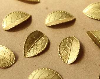 2 pc. Raw Brass Veined Leaves: 26mm by 16.5mm - made in USA - RB-1038