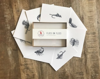Fly Fishing Flies Notecards & Envelopes - Set of 8 - 4x6""