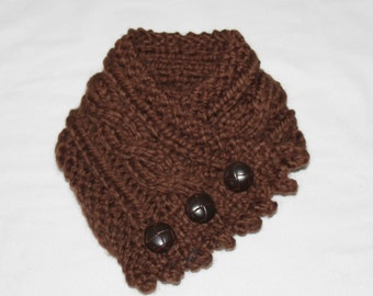 Fishermans Wife Cowl,  Cable Knit Cowl, Knitted Cowl, Bulky Knit Cowl,  Color Chocolate Brown