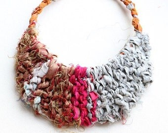 Recycled Necklace, Bib Necklace, Abstract Jewelry, Silk Ribbon Jewelry, Unique Necklaces for Women, Repurposed Jewelry, Silk Sari Ribbon