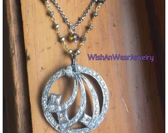 Vintage Statement Necklace Repurposed Art Deco Nouveau Dress Clip Pendant Mother of the Bride Two Tone Crystals Original Design WishAnWear