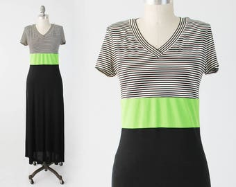 Vintage Neon Spandex Maxi Dress - 80s 90s Black White Green Floor Length Striped Dress - Slinky Stretch Cap Sleeve Dress -  Size Medium