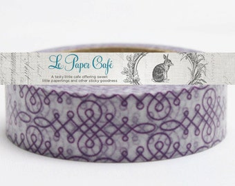 Purple Decorative Scroll Washi Tape - Paper/Scrapbook Washi Tape - Decorative/Crafting Tape - Packaging Supplies - 15mmx10m