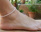 cream anklet beach vacation weddings luxe pearl finish seed beads