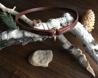 Bridle Leather Dog Tag Collar - ID Collar