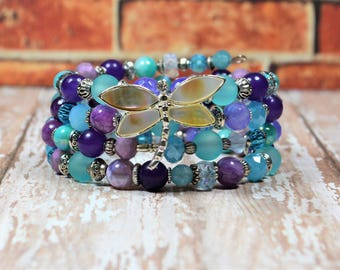 Dragonfly Charm Bracelet Insect Jewelry Purple & Blue Beaded Memory Wire Stacked Wrap Boho Chic Bohemian New Age Style Gifts for Her BJGB79