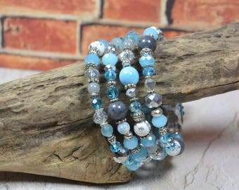 Blue and Gray Bracelet Light Blue and Pale Grey Beaded Boho Chic Memory Wire Wrap Bohemian Hippie Gyspy Jewelry New Age Gifts for Her BJGB75