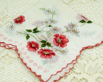 Vintage Hankie Pink Red Flowers on White E20