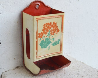 Vintage/Cottage Chic/ Rustic Red Metal Match Safe/Wall Hanging