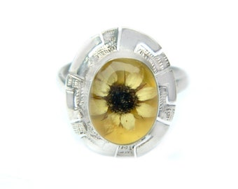 Sterling Dried Flower Ring Taxco Mexico Vintage Adjustable Jewelry Ring Yellow Daisy Flower Power 1970s Greek Key Style Sterling Silver Sz 6