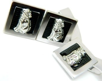 Foo Dog Cufflinks Tie Bar Kreisler USA Sterling Silver Rare Chinese Guardian Protector Lion Dogs SALE Coupon Sparkle2017 For 15% Discount