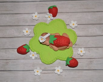 Strawberry baby cake topper