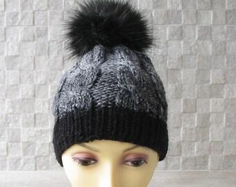 Knitted chemo hat for women knit hats with pom pom beanie hat, womens pom pom beanie