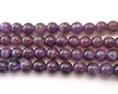 8mm Round Amethyst Beads Purple Gemstone 16 Inch Strand