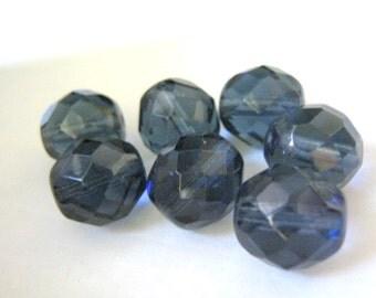 Blue 12mm Faceted Round Montana Czech Beads Glass 8pcs