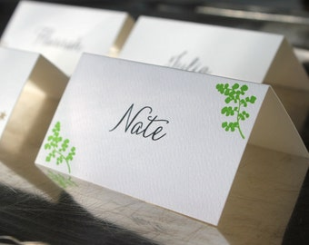 Letterpress Place Cards with Green Boughs