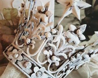 Stars and Flowers Metal Crown French White ~ Shabby & Chic