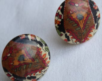 VINTAGE LIBERTY EARRINGS.Circular clip ons with Multi Coloured Floral Pattern Valentines Gift