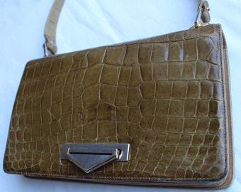 Vintage SHOULDER BAG - Stunning Item Patent Leather MOCCROCK Khaki/Brown shade.