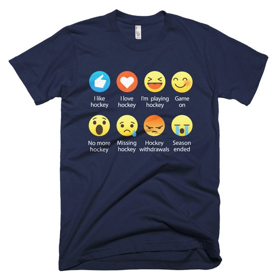 Emoji (emoticon) I Love HOCKEY Sayings T-Shirt (RELAXED FIT)