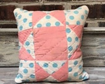 Vintage Pink and Blue Quilt Pillow With Quilt Backing- Can Be Used On Either Side