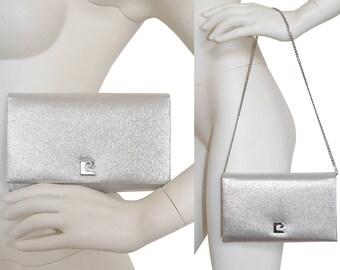 PIERRE CARDIN 1960s Vintage Evening Clutch Handbag Metallic Silver Lurex Shoulderbag Original Box