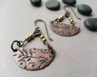 Stamped Arrow Copper Earrings, Mixed Metal, Brass Beads, Niobium Ear Wires, Modern Boho Style, Trending Dangle Earrings, Tami Lopez Designs