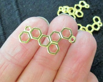 Pack of 10 Gold Tone Honeycomb Bee Connector Charm 26mm x 13mm