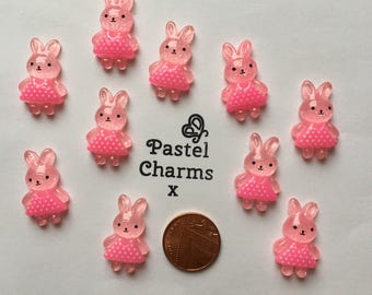Pack of 10 cute bunny embellishments