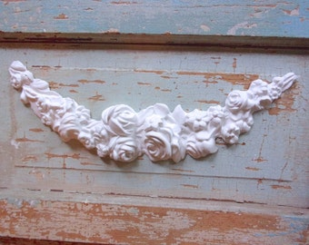 Shabby Chic FURNITURE APPLIQUES Large Rose Swag Flexible Paintable No limit shipping 5.95 USA