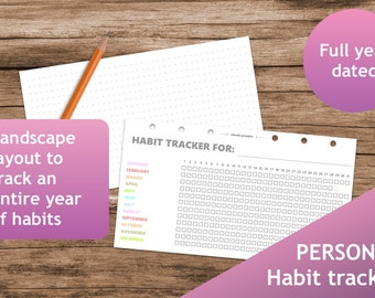 Habit Tracker, Planner, Printable planner inserts personal, booklet, Filofax calendar, kikki.K, Dot Grid, rainbow, pastel