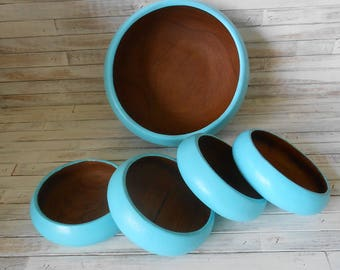 Turquoise Salad Bowl Set - Beach Inspired Salad Bowl Set-Turquoise Salad Bowl Set- Salad Bowls- Teak Painted Salad Bowls-Wood  Serving Bowls