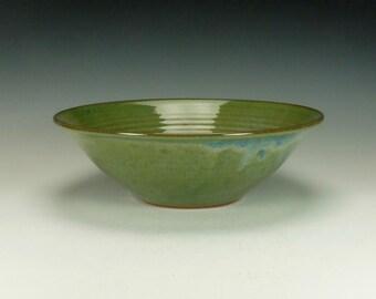 Large salad pottery bowl, blue/green glaze.  Ready to ship.