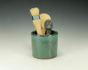 Spoon/ Utensil pottery jar. Medium.  Green.  Ready to ship.