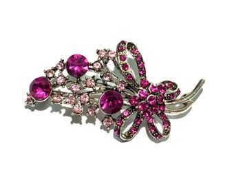 Rhinestone Brooch, Flower Brooch, Bridal Brooch, Pink Brooch