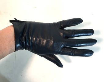 1970s black leather wrist gloves - size 7 - 1970s  black wrist gloves - 1970s driving gloves