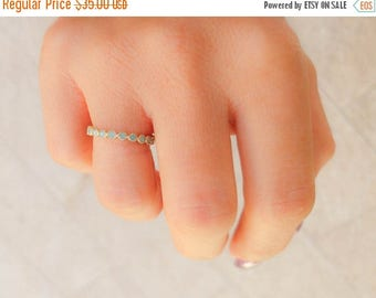 Mothers Day Sale - Thin opal ring - Eternity Pave CZ stone Ring  - Full eternity Band - Gold Opal ring - Light blue ring - Promise ring