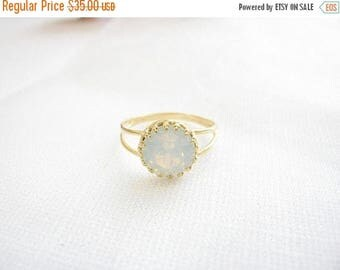Mothers Day Sale - Gold opal ring - White opal ring - Gold ring with white crystal - Vintage opal ring - bridal jewelry - opal ring