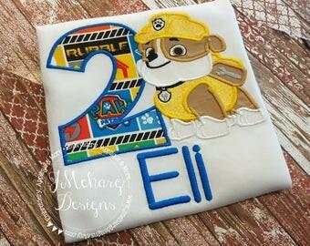 Paw Patrol Rubble Custom Shirt or Birthday Custom Tee Shirt - Customizable 47a