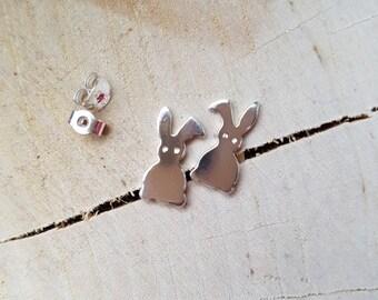 Rabbit Earrings Stud Earrings Sterling Silver Earrings Silver Bunnies Bunny Stud Earrings Rabbit Stud
