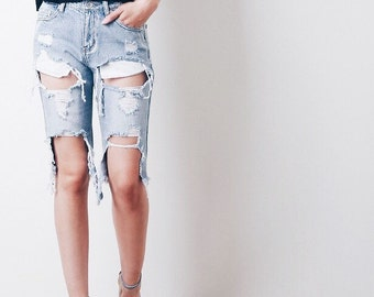 Denim Distressed boyfriend bermudas/mid to high waist shorts/jean/beach/plus size/S-XXL/All Brands/levis lee etc