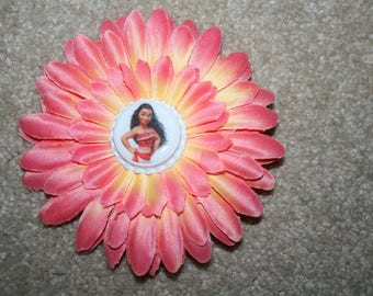 50% OFF CLEARANCE SALE Disney Princess Moana Custom Boutique Bottle Cap Hair Bow Clip - coral
