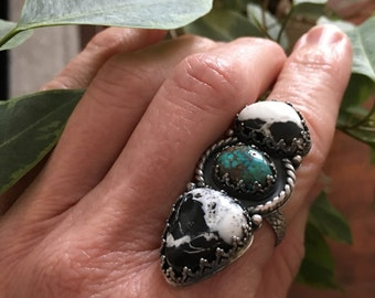 White Buffalo Turquoise Ring, Kingman Turquoise, Long Ring, Sterling Three Stone Ring, OOAK Statement Ring Size 8, Boho Southwest Jewelry