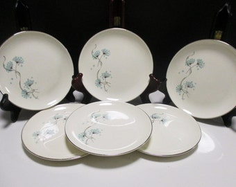 Taylor Smith Taylor Mid Century - Blue Lace Pattern - Bread and Butter Plates - Set of 6 (2 sets available)